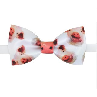 Pig Bow Tie, Pig Bow tie, Pig Necklace, White Bow Tie, Pig Pattern 煲呔