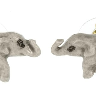 Porcelain earrings small gray elephant Christmas gift