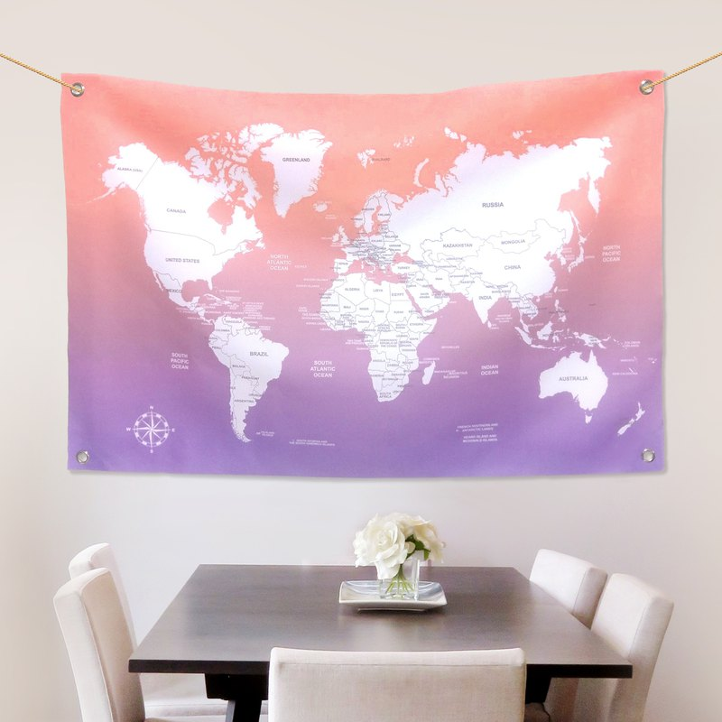 World map hangs customized Provence sunset