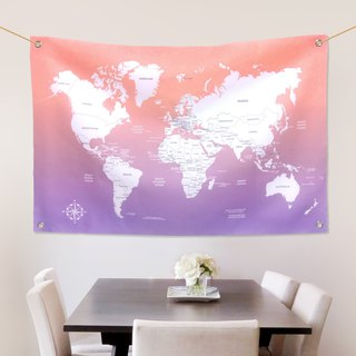 Customized World Map Fabric Cloth Provence Sunset