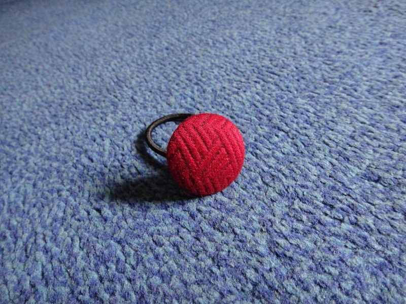 (C) Red Volleyball_ Cloth Button Hair Ring C48CIZ28