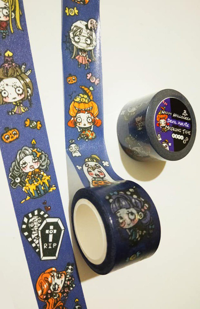Halloween limited edition 2.5cm paper tape - Devil Purple