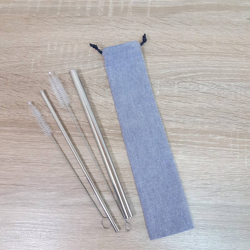 Straw five-piece group / storage sleeve 316 stainless steel straw Boba / general 2 brush / calm gray