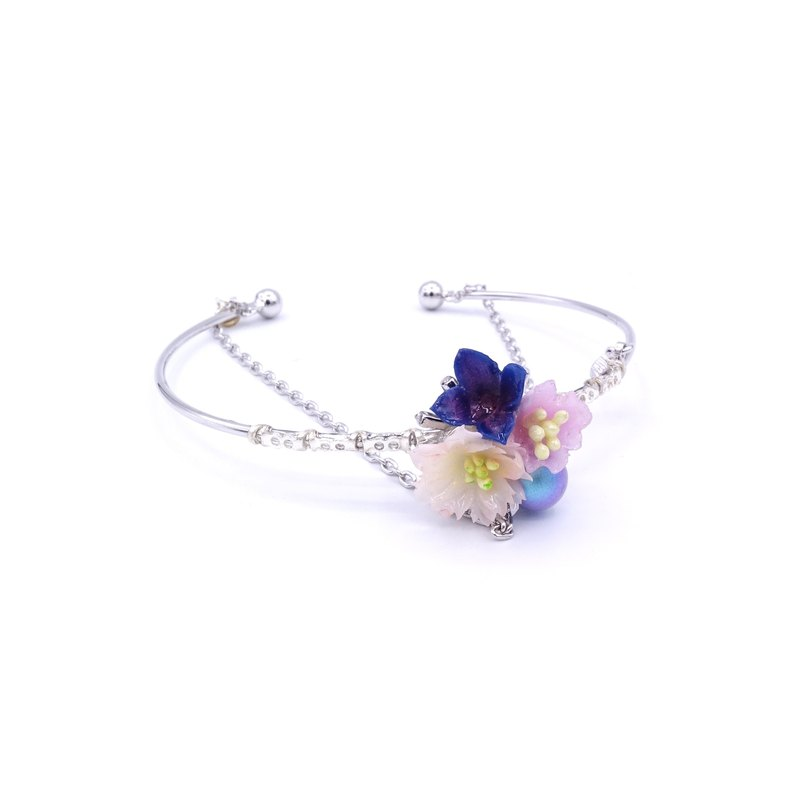 Pamycarie Night-Sakura Crystal Floral Silver-plated Bangle