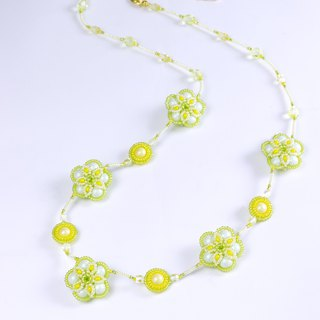 Green yellow flower necklace, swarovski pearl jewelry, beaded  jewelry, 384
