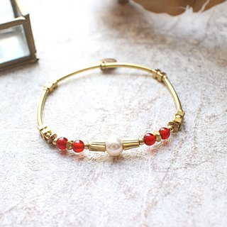 Christmas-Red agate brass bracelet