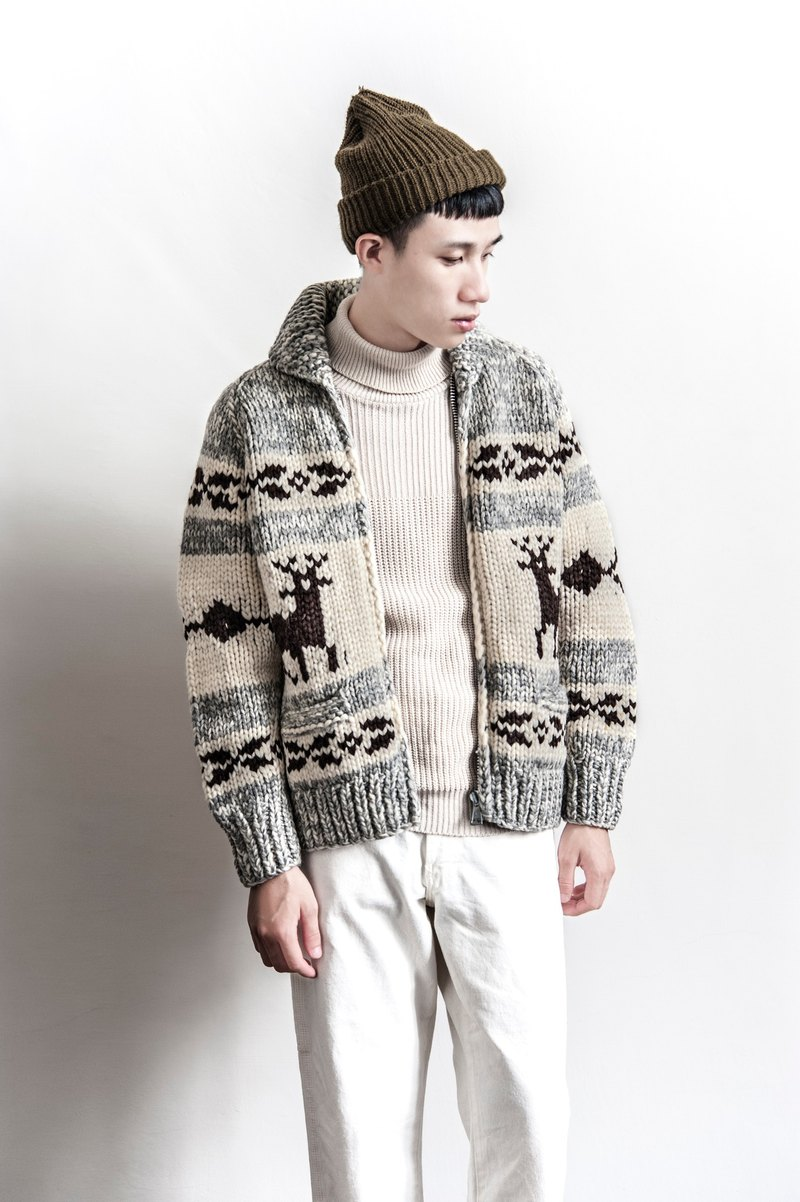 Vintage Cowichan HAND MADE Deer Christmas totem design hand-woven sweater coat thick Canadian Jin Dynasty