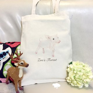 Forest animal straight canvas bag - black rabbit models. Flying squirrel models. Pig models