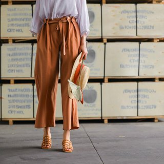 Clay red imitation copper ammonia silk flower waist lofted wide leg pants retro straight spring and summer wide pants straight jeans