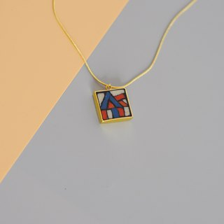 Retro Dance Hand Mosaic Mosaic Gold Plated Necklace 925 Silver Gold Plated Abstract Contrast Long Chain