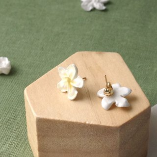 Apple flower/ Plumeria Earrings/Clip on =Flower Piping= Customizable