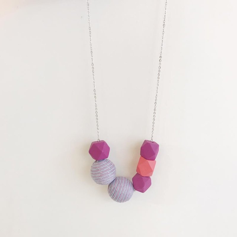 Pink Purple  Wooden Ball Necklace Birthday Gift Bridesmaid Gift