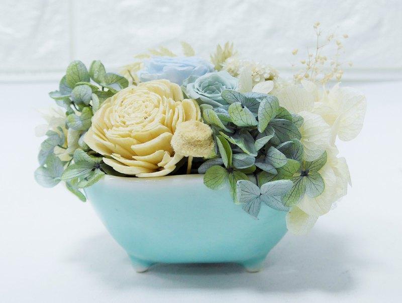 Kinki療癒系列 療浴小盆花 藍綠復古莫蘭迪 乾燥花 不凋花 盆栽