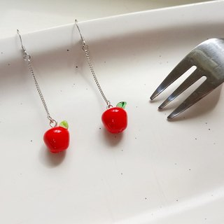 Apple glass fruit earrings (free folder type)