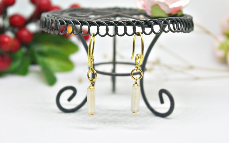 Brass natural stone * X * Huang Long Tube - shape models hook earrings