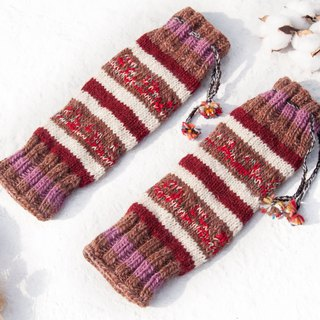 Hand-knitted pure wool knit socks/woven wool socks/inner brushed socks/warm socks-rose garden