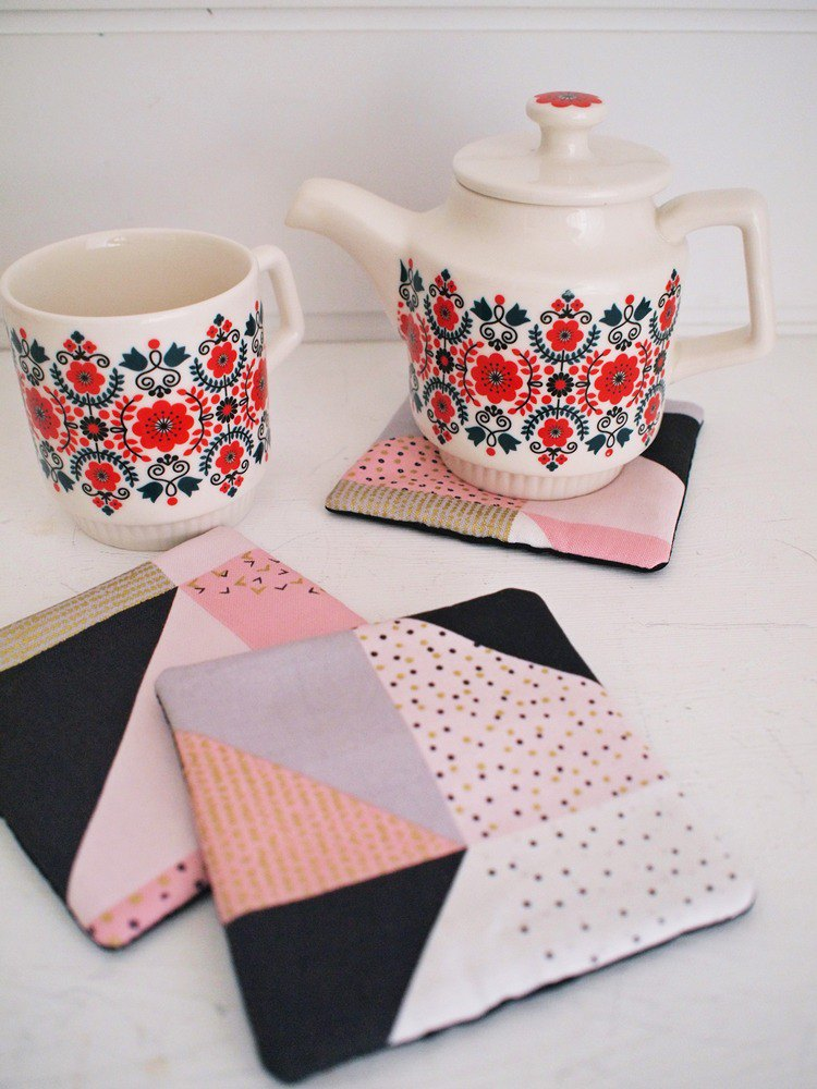 Hairmo point line handmade green cloth coaster - pink (3 in)