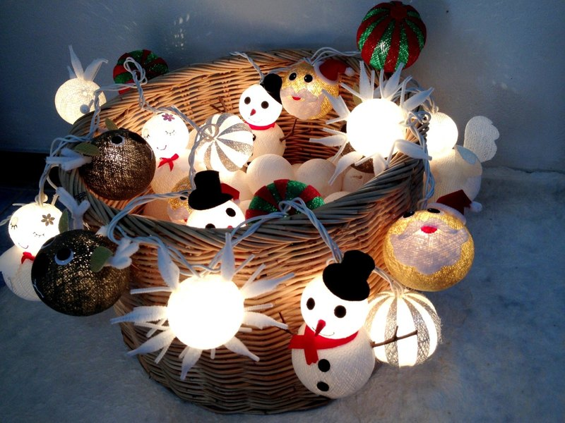 20 Christmas set cotton ball string lights Cotton ball string lights for Christmas celebration, Christmas Lights, Christmas tree decor