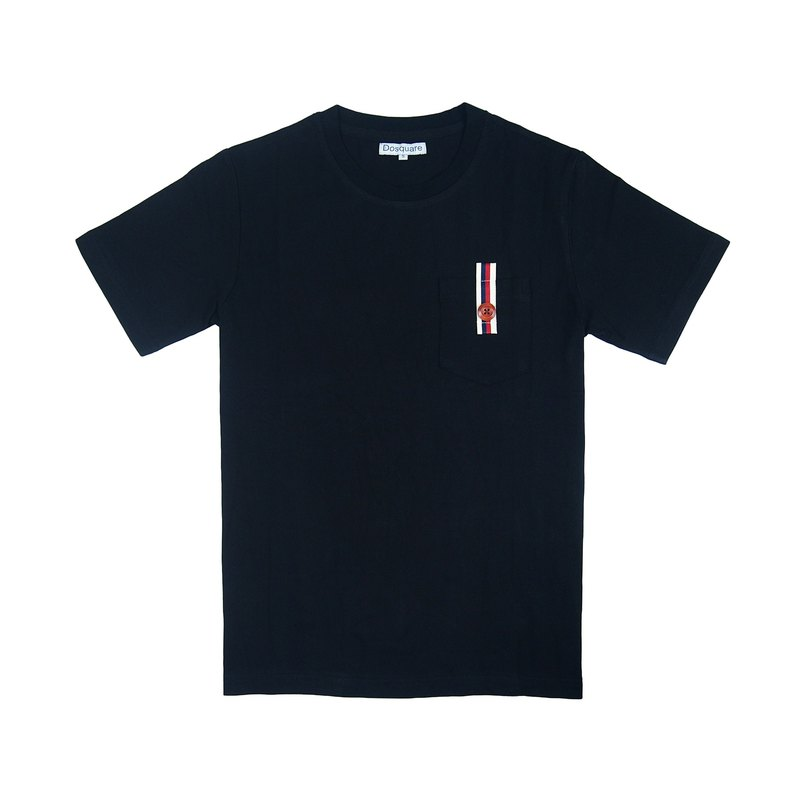 Dosquare - Cotton Black T-shirt with Pocket