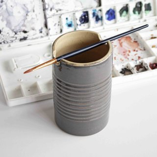 Handmade Ceramic Paint Brush Holder Can - Rusty Dark Grey