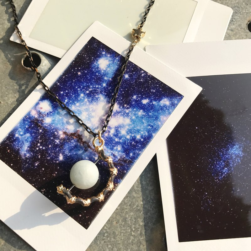 【Lost And Find】Natural Uranus Aquamarine planet necklace
