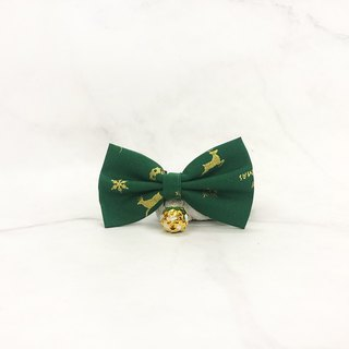 Christmas Classic - Green Cat Mini Dog Small Dog Bow Decoration Collar