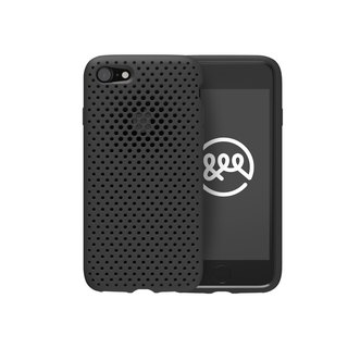 AndMesh iPhone 7 / 8 Japan QQ dot soft anti-collision protective cover - black 4571384954549