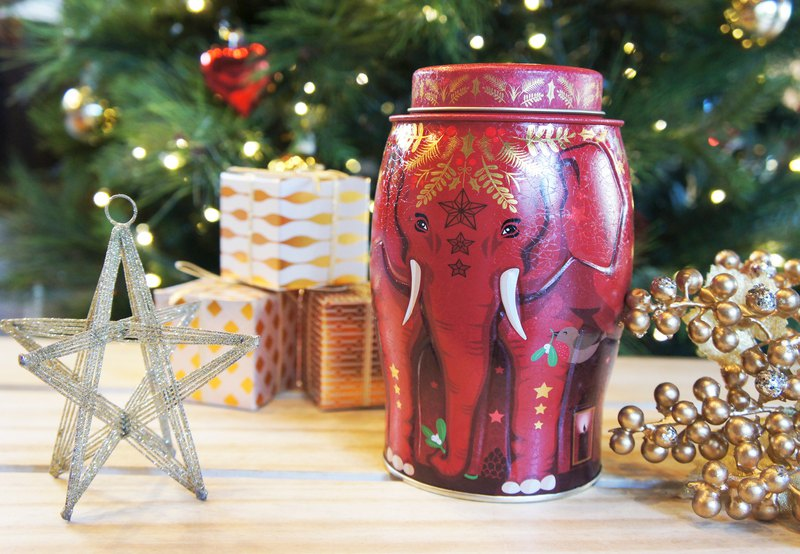[Christmas Gift] Red Christmas Night Elephant Tea Pot (including English breakfast tea / 40 heat-sealed tea bags)