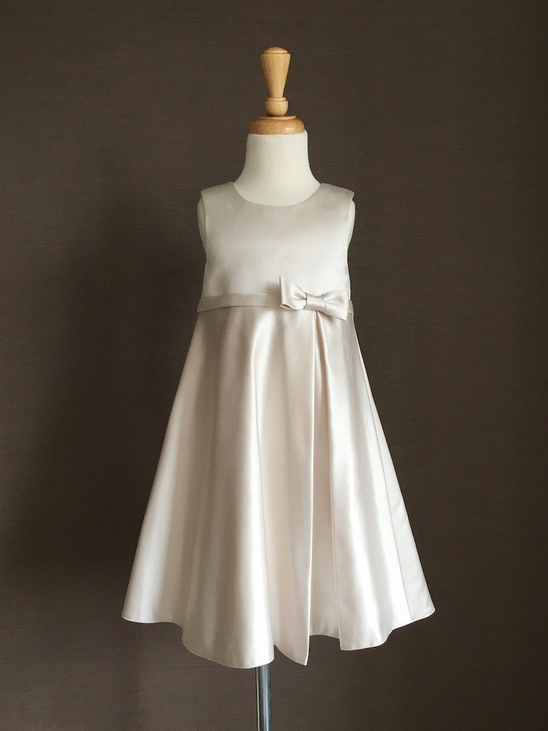 Silver White Satin Empire Waist Dress