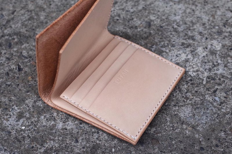 Geometric square short clip / wallet hand-stitched yak leather