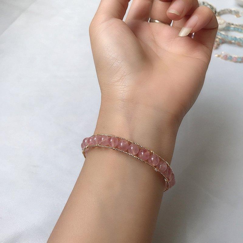 天然粉晶手鏈 招桃花系列水晶手環 14K鍍金手工編織手鐲