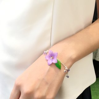 Hand-painted flower Purple Campanulaceae with leaf crystal bracelet
