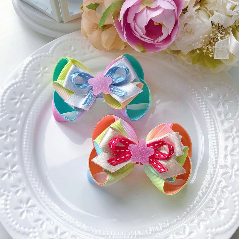 Gradient Rainbow Color Resin Candy Star Child Girl Bow Hair Clip - Blue Green Orange