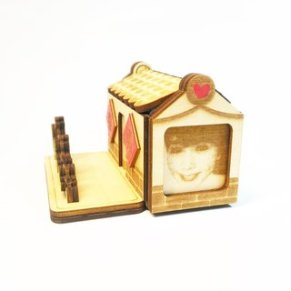 [Portrait of pet custom - love red brick house] avatar + surname + text / mobile phone card holder / storage box