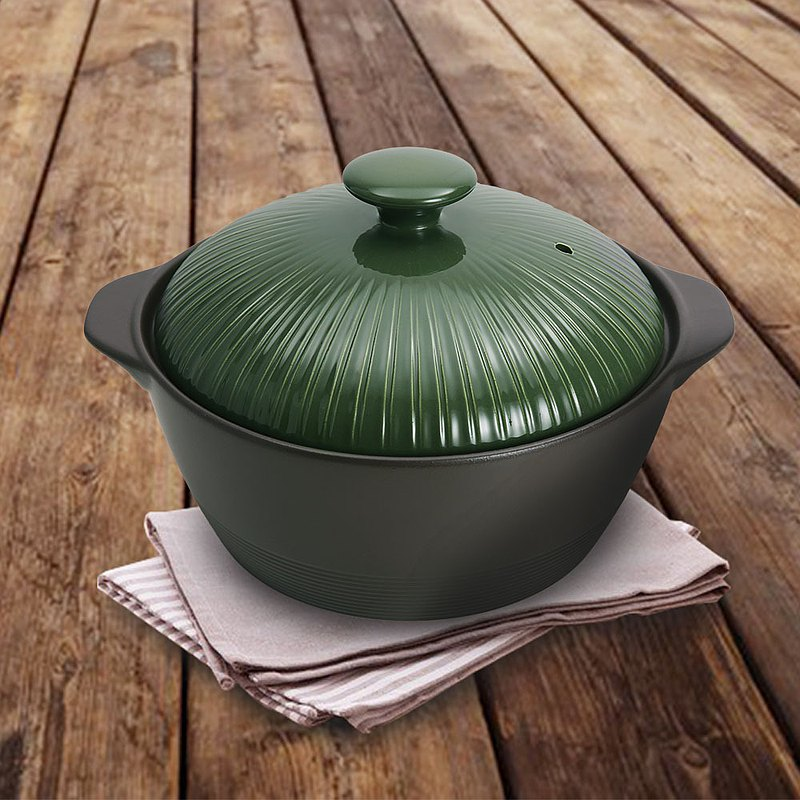 MIYAWO日本宮尾 直火系列10號耐溫差深型陶土湯鍋綠 送辣媽食譜書