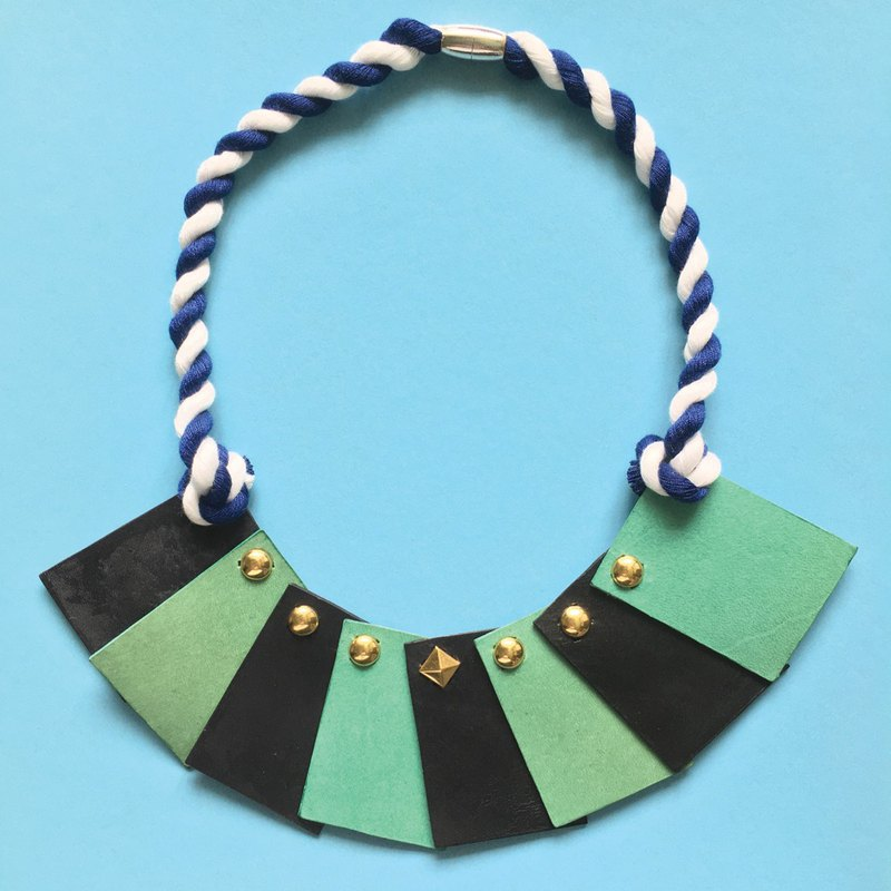 Sonniewing's Geometry Color Block Leather Necklace
