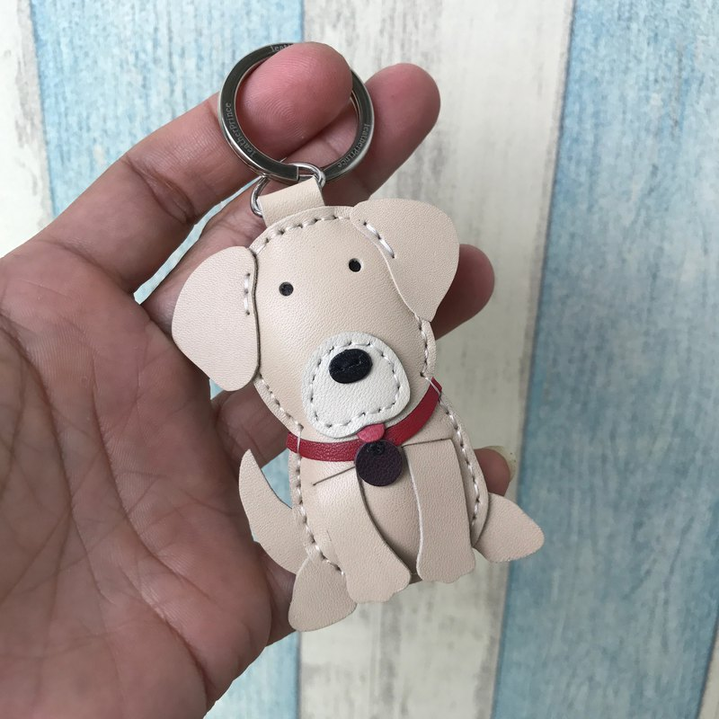 Leatherprince Handmade Leather Taiwan MIT Beige Cute Golden Retriever Handmade Leather Keychain Small size small size