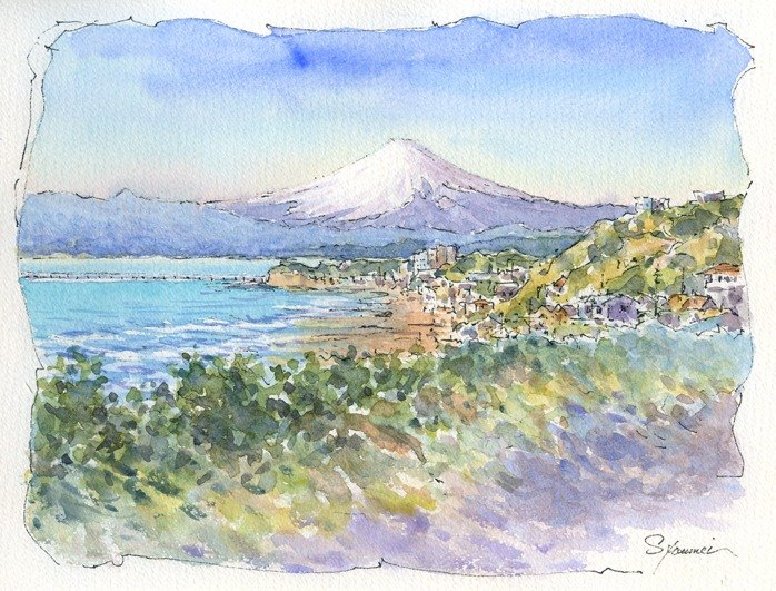 Watercolor painting Mt. Fuji Distant view