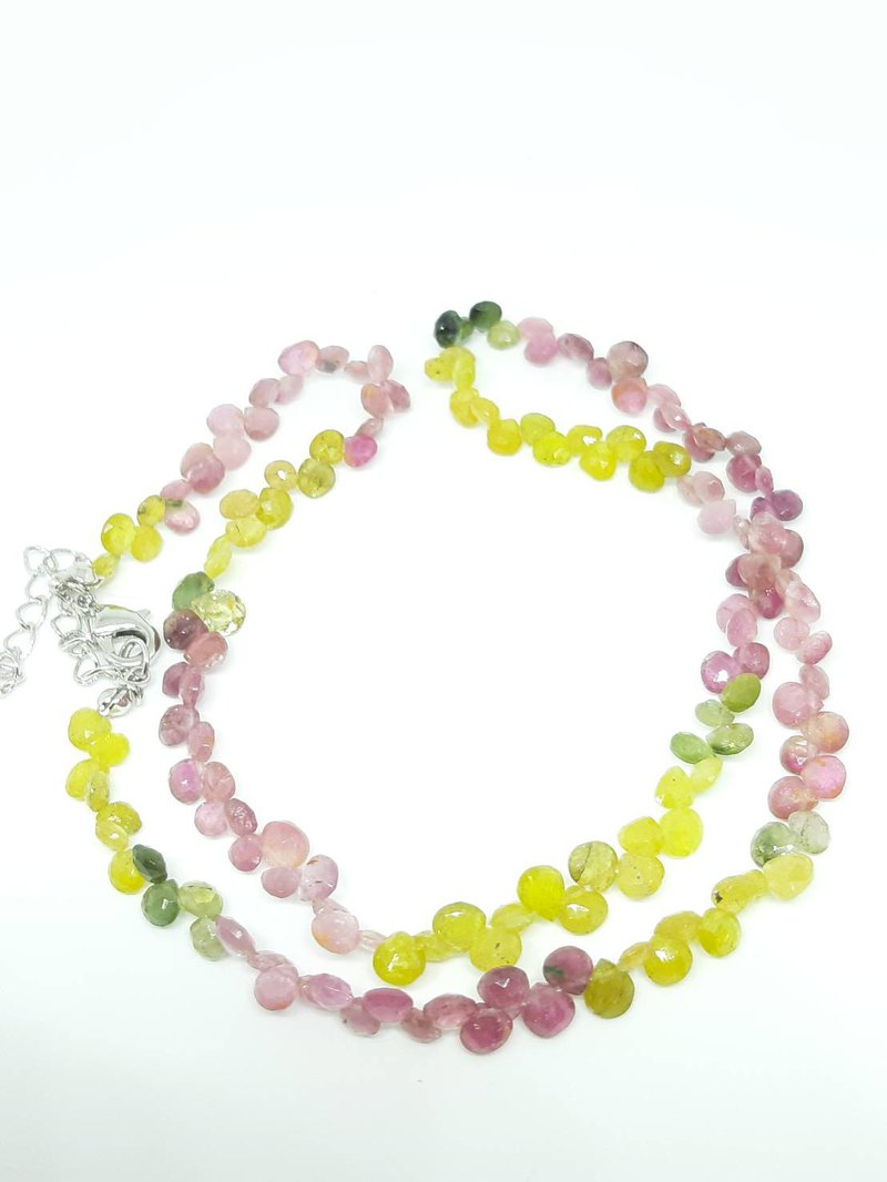 [Crystal Gemstone] Gemstone Necklace Colored Tourmaline Long Necklace - Mother's Day - Birthday - Valentine's Day Gift