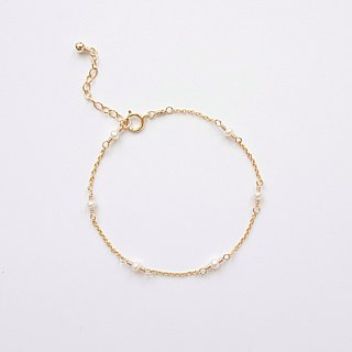 A Little Tiny Freshwater Pearl 14K Gold Filled Adjustable Layering Bracelet