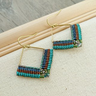Misssheep-A106-Ethnic American South American wax line braided brass beads crystal earrings (ear hook / ear clip)