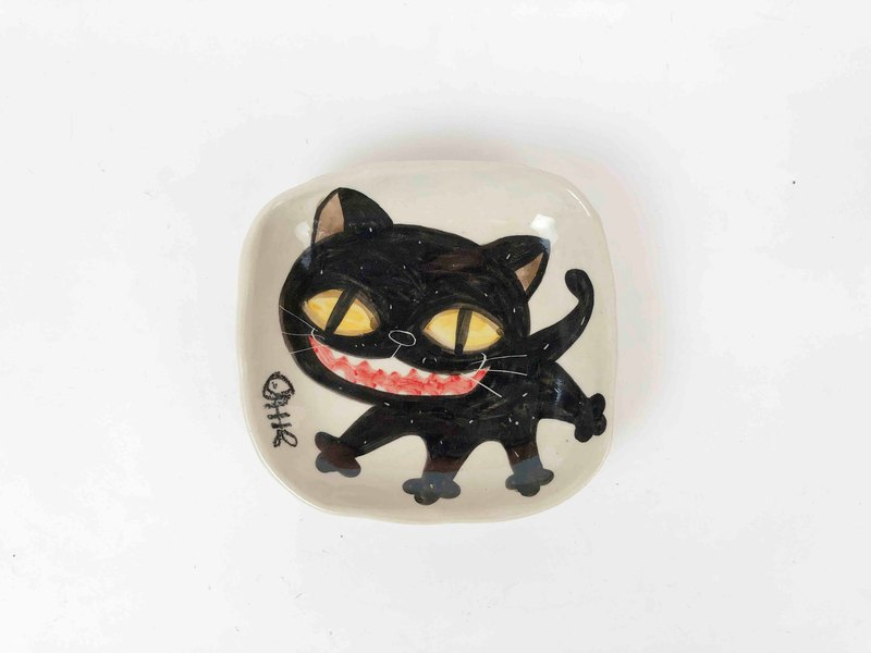 Nice Little Clay hand-painted small square dish big black cat 0304-23