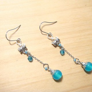 Grapefruit Forest Handmade Glass - Drunken Spring (Mist Blue) - Long Earrings - (can be clipped for free)