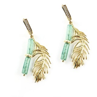 Exquisite - Jade 14kgf Earrings【Bamboo + Feather】【Christmas gift】【jade earrings】