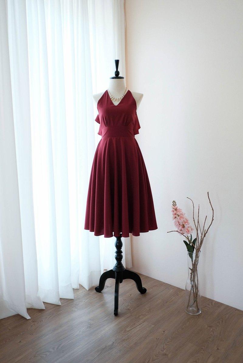 勃艮第紅色禮服女式伴娘露背雞尾酒會禮服