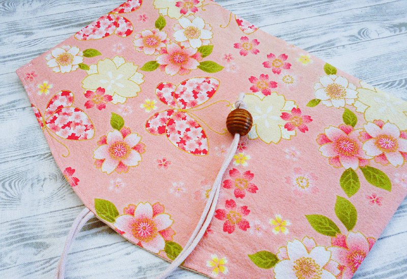 Japanese pink butterfly cherry shrinking tying rope cloth roll tableware bag stationery brush bag