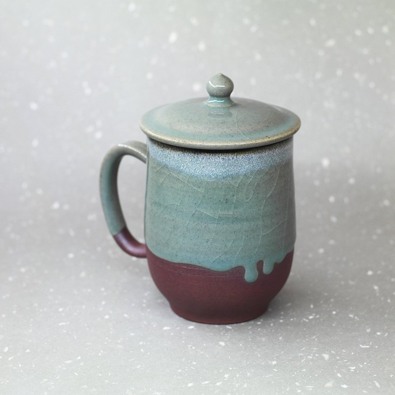 Zen style celadon flow glaze cover cup hand made pottery