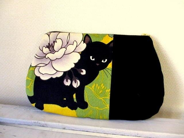 Black Cat Japanese pattern flat pouch * yellow B