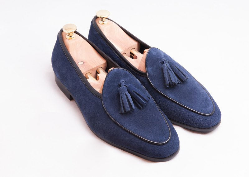 Leather suede tassels Belgium Lok Fu shoes men's shoes leather shoes - dark blue - free shipping - E1B26-39