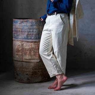 Not complete | cotton white tea dyed loose casual overalls natural plant dyed casual long pants